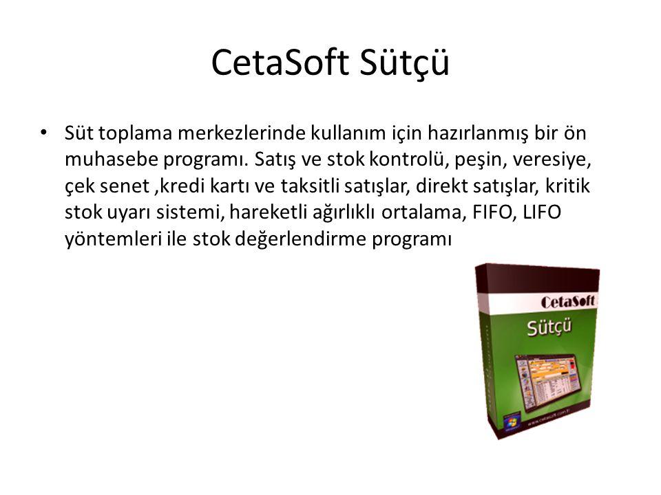 CetaSoft Sütçü Süt toplama merkezlerinde kullanım için hazırlanmış bir ön muhasebe programı.