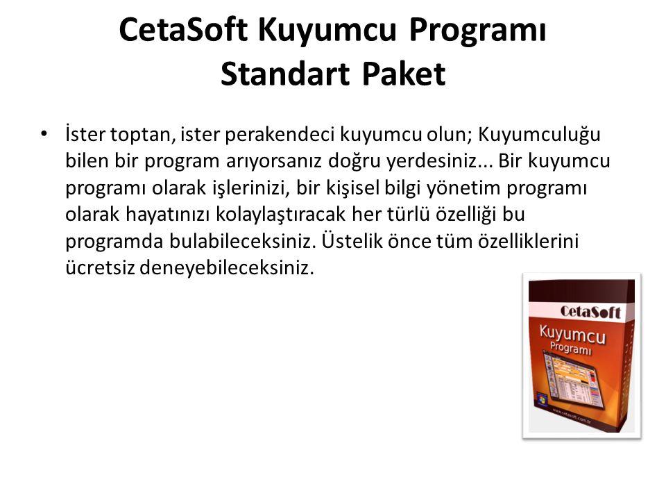 CetaSoft Kuyumcu Programı Standart Paket İster toptan, ister perakendeci kuyumcu olun; Kuyumculuğu bilen bir program arıyorsanız doğru yerdesiniz...