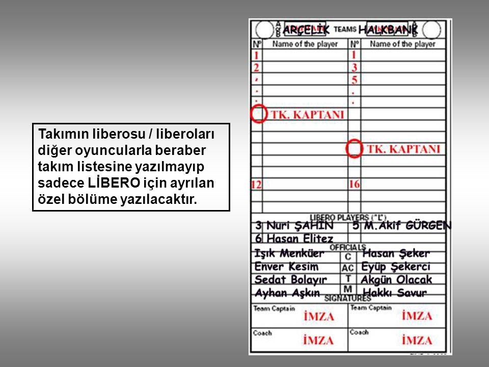 Takımın liberosu / liberoları diğer oyuncularla beraber takım listesine yazılmayıp sadece LİBERO için ayrılan özel bölüme yazılacaktır.
