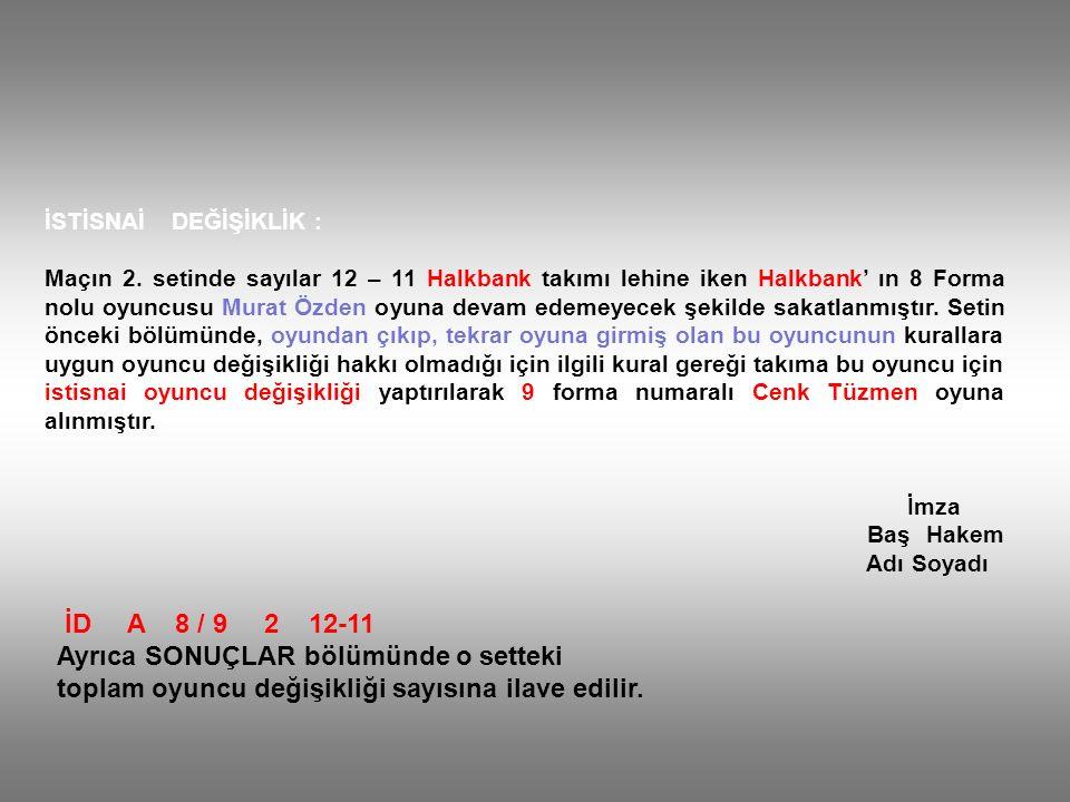 İSTİSNAİ DEĞİŞİKLİK : Maçın 2. setinde sayılar 12 – 11 Halkbank takımı lehine iken Halkbank' ın 8 Forma nolu oyuncusu Murat Özden oyuna devam edemeyec