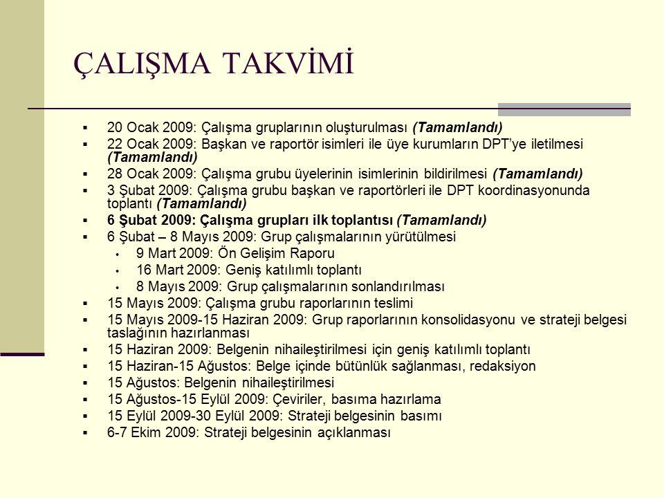 ÇALIŞMA TAKVİMİ  20 Ocak 2009: Çalışma gruplarının oluşturulması (Tamamlandı)  22 Ocak 2009: Başkan ve raportör isimleri ile üye kurumların DPT'ye i