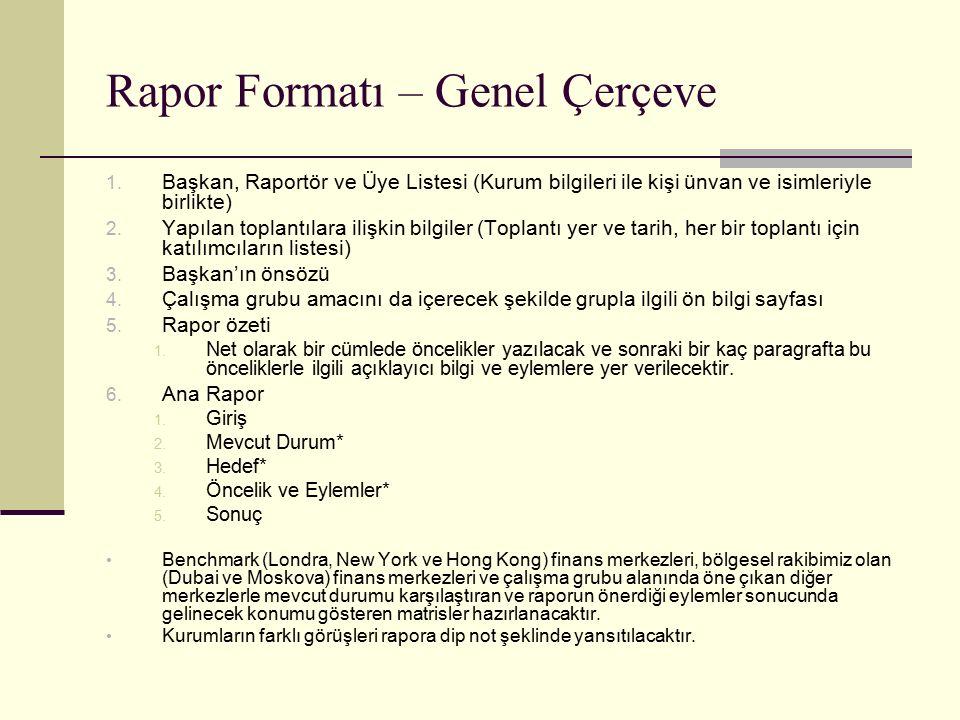 Rapor Formatı – Genel Çerçeve 1. Başkan, Raportör ve Üye Listesi (Kurum bilgileri ile kişi ünvan ve isimleriyle birlikte) 2. Yapılan toplantılara iliş