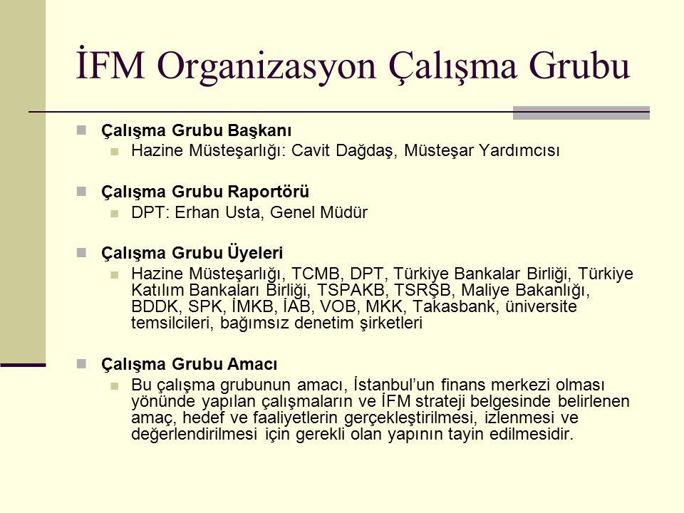 İFM Organizasyon Çalışma Grubu Çalışma Grubu Başkanı Hazine Müsteşarlığı: Cavit Dağdaş, Müsteşar Yardımcısı Çalışma Grubu Raportörü DPT: Erhan Usta, G