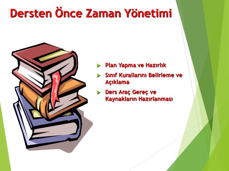 Dersten Önce Zaman Yönetimi  Plan Yapma ve Hazırlık  Sınıf Kurallarını Belirleme ve Açıklama  Ders Araç Gereç ve Kaynakların Hazırlanması