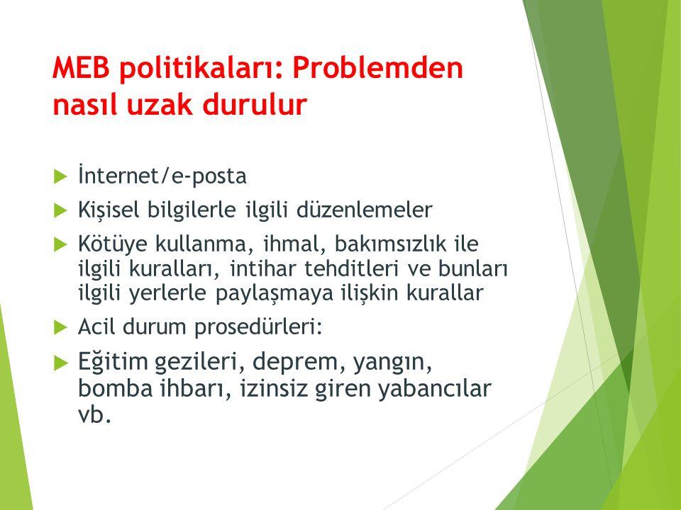 MEB politikaları: Problemden nasıl uzak durulur  İnternet/e-posta  Kişisel bilgilerle ilgili düzenlemeler  Kötüye kullanma, ihmal, bakımsızlık ile