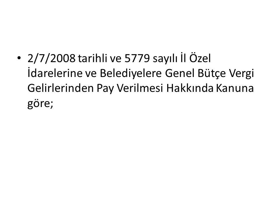 2/7/2008 tarihli ve 5779 sayılı İl Özel İdarelerine ve Belediyelere Genel Bütçe Vergi Gelirlerinden Pay Verilmesi Hakkında Kanuna göre;