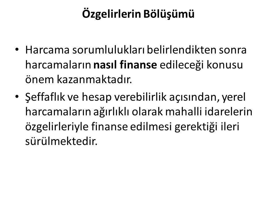 Özgelirlerin Bölüşümü Harcama sorumlulukları belirlendikten sonra harcamaların nasıl finanse edileceği konusu önem kazanmaktadır.
