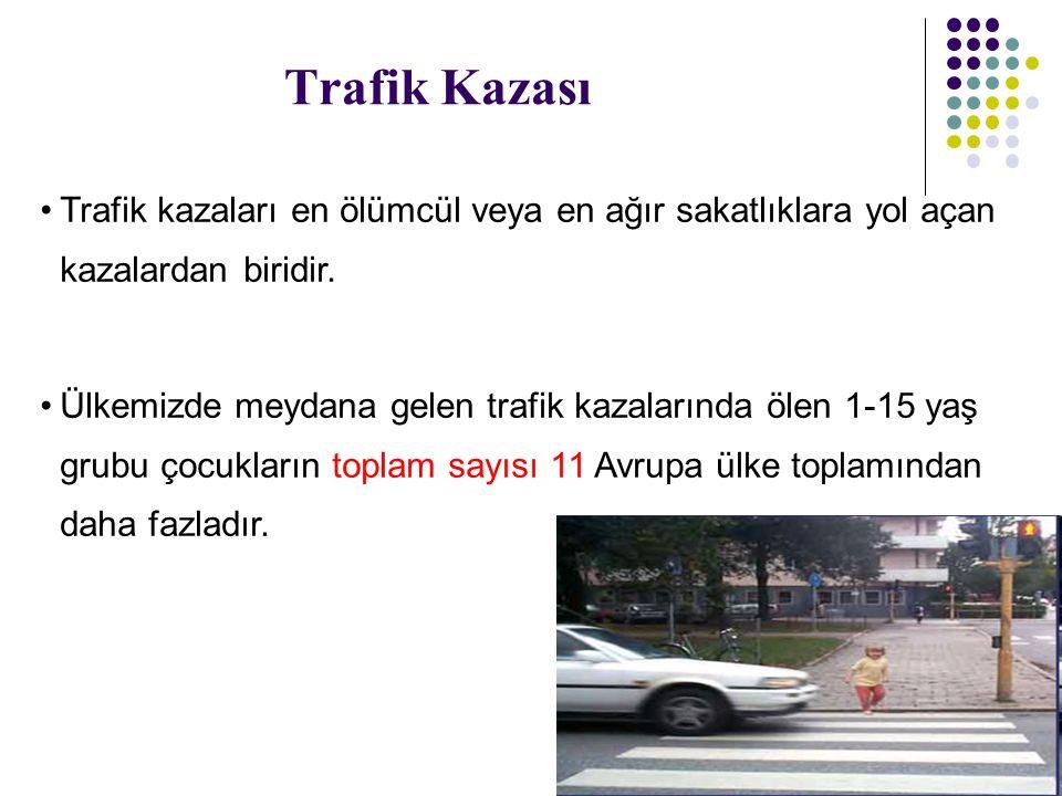 Trafik Kazası Trafik kazaları en ölümcül veya en ağır sakatlıklara yol açan kazalardan biridir. Ülkemizde meydana gelen trafik kazalarında ölen 1-15 y