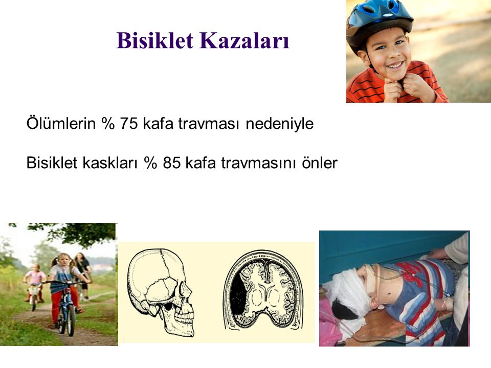 Bisiklet Kazaları Ölümlerin % 75 kafa travması nedeniyle Bisiklet kaskları % 85 kafa travmasını önler