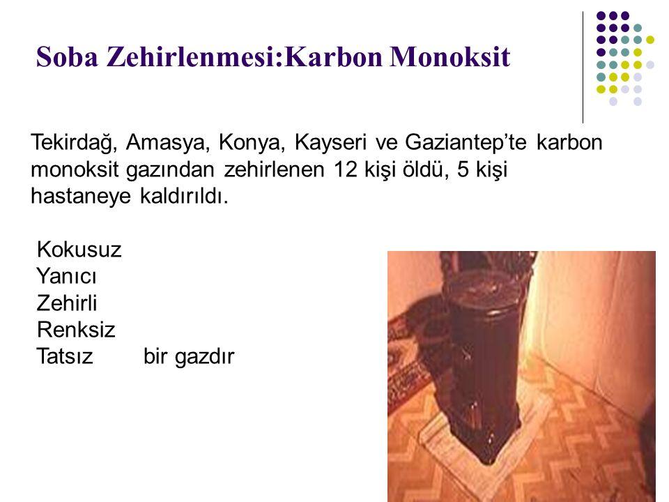 Soba Zehirlenmesi:Karbon Monoksit Tekirdağ, Amasya, Konya, Kayseri ve Gaziantep'te karbon monoksit gazından zehirlenen 12 kişi öldü, 5 kişi hastaneye
