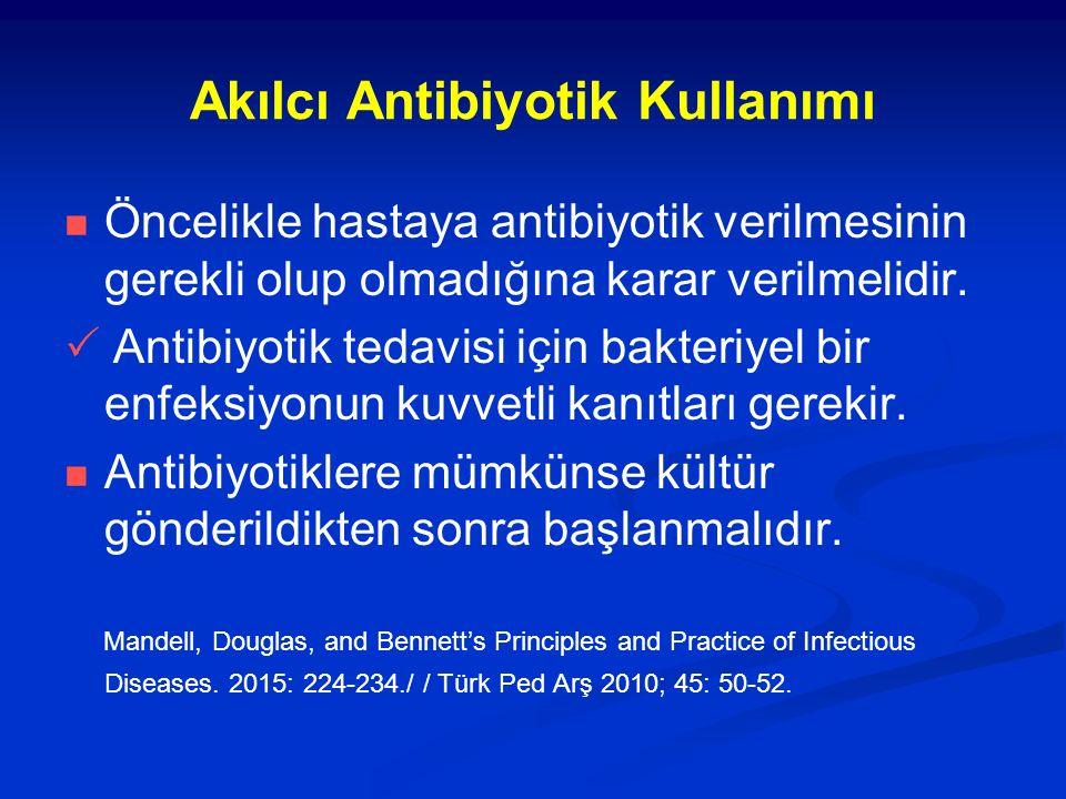 Akılcı Antibiyotik Kullanımı Öncelikle hastaya antibiyotik verilmesinin gerekli olup olmadığına karar verilmelidir.  Antibiyotik tedavisi için bakter