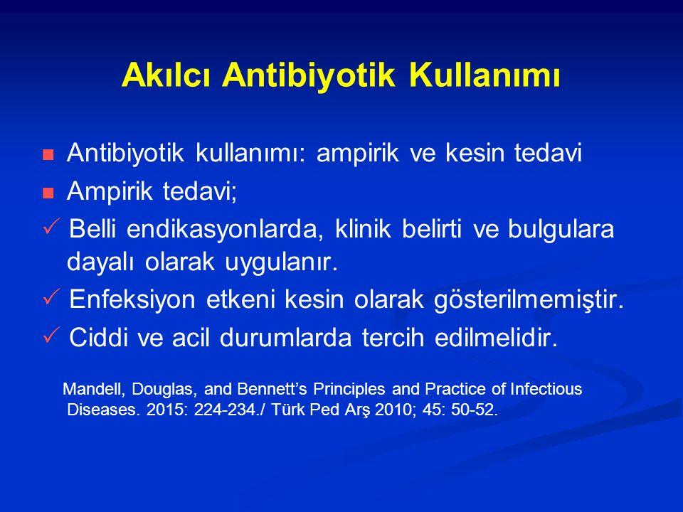 Akılcı Antibiyotik Kullanımı Antibiyotik kullanımı: ampirik ve kesin tedavi Ampirik tedavi;  Belli endikasyonlarda, klinik belirti ve bulgulara dayal