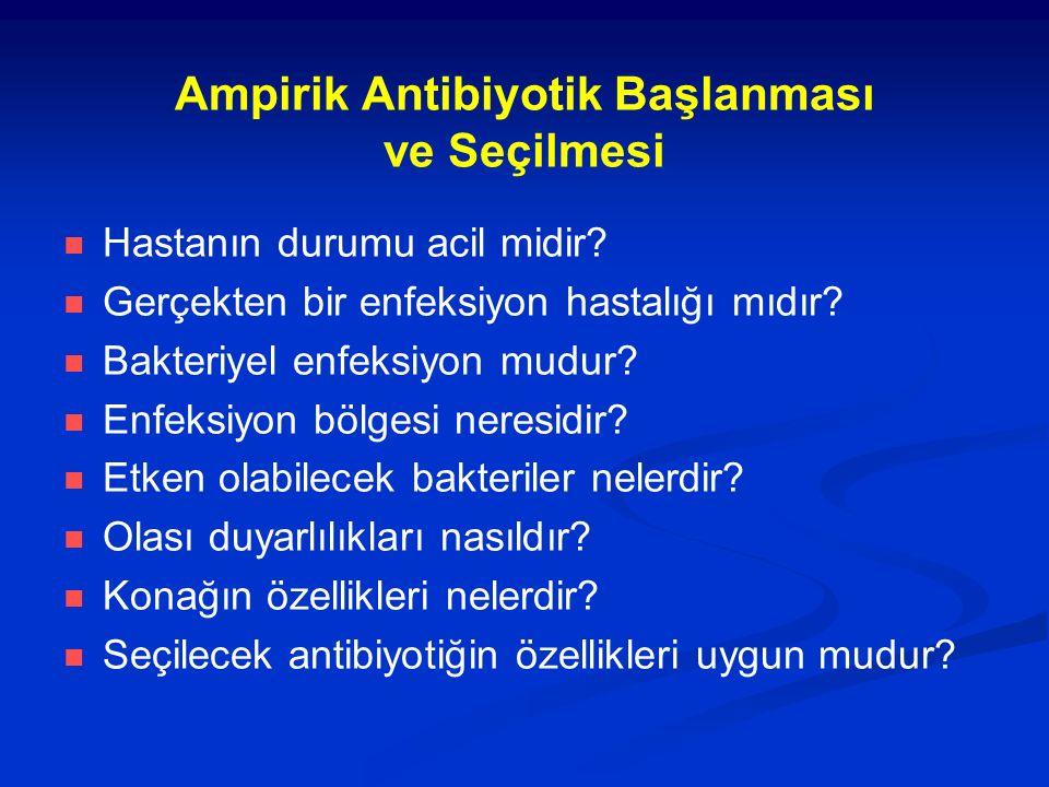 Ampirik Antibiyotik Başlanması ve Seçilmesi Hastanın durumu acil midir? Gerçekten bir enfeksiyon hastalığı mıdır? Bakteriyel enfeksiyon mudur? Enfeksi