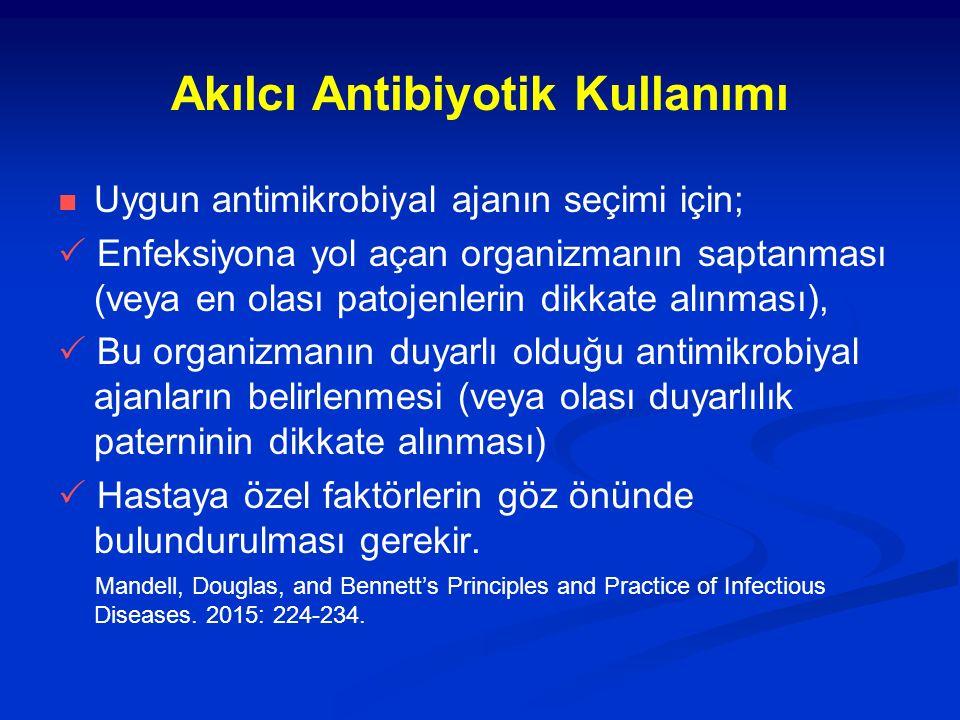 Akılcı Antibiyotik Kullanımı Uygun antimikrobiyal ajanın seçimi için;  Enfeksiyona yol açan organizmanın saptanması (veya en olası patojenlerin dikka