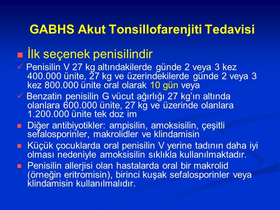 GABHS Akut Tonsillofarenjiti Tedavisi İlk seçenek penisilindir  Penisilin V 27 kg altındakilerde günde 2 veya 3 kez 400.000 ünite, 27 kg ve üzerindek