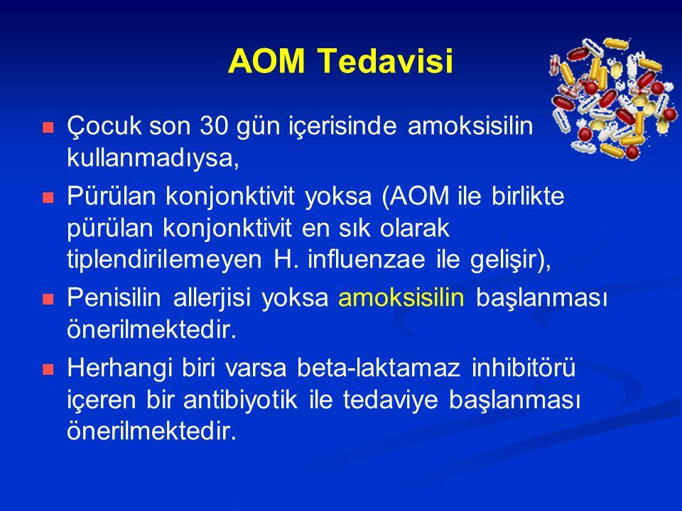 AOM Tedavisi Çocuk son 30 gün içerisinde amoksisilin kullanmadıysa, Pürülan konjonktivit yoksa (AOM ile birlikte pürülan konjonktivit en sık olarak ti