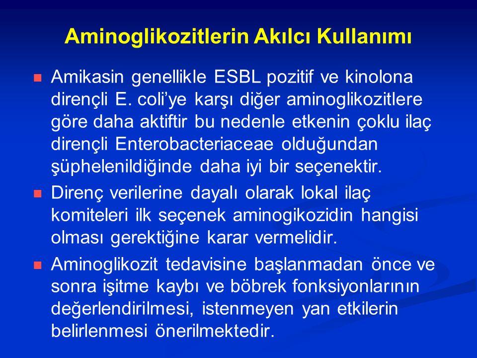 Aminoglikozitlerin Akılcı Kullanımı Amikasin genellikle ESBL pozitif ve kinolona dirençli E. coli'ye karşı diğer aminoglikozitlere göre daha aktiftir