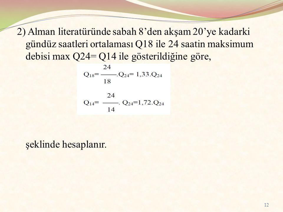 2) Alman literatüründe sabah 8'den akşam 20'ye kadarki gündüz saatleri ortalaması Q18 ile 24 saatin maksimum debisi max Q24= Q14 ile gösterildiğine gö