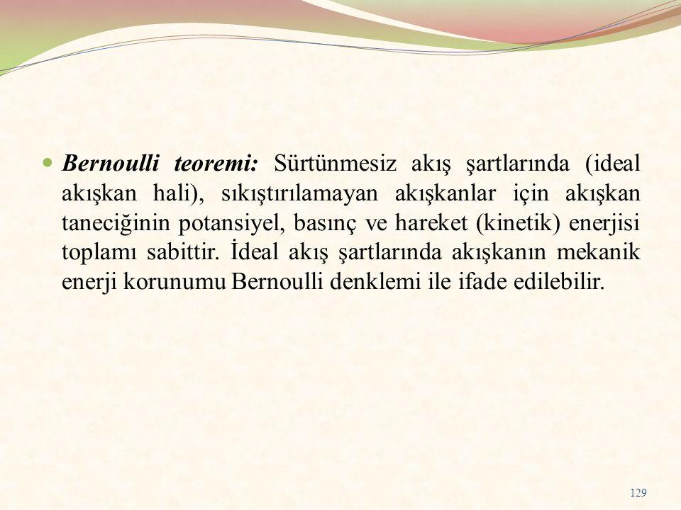 Bernoulli teoremi: Sürtünmesiz akış şartlarında (ideal akışkan hali), sıkıştırılamayan akışkanlar için akışkan taneciğinin potansiyel, basınç ve harek