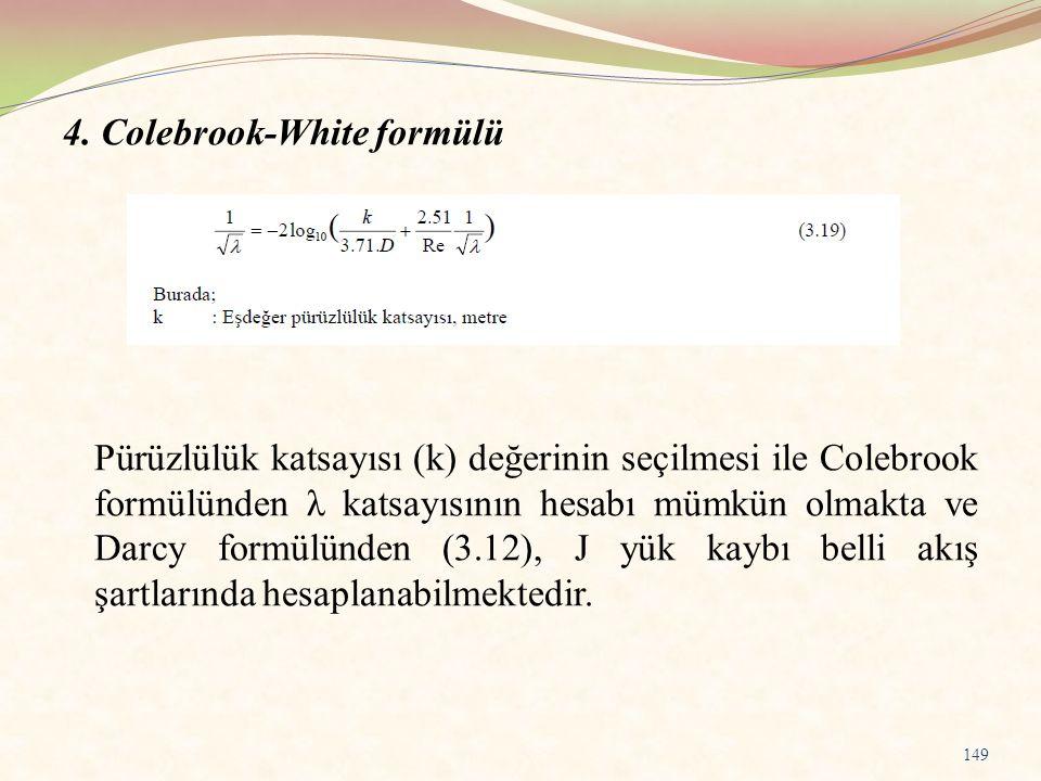 4. Colebrook-White formülü Pürüzlülük katsayısı (k) değerinin seçilmesi ile Colebrook formülünden λ katsayısının hesabı mümkün olmakta ve Darcy formül