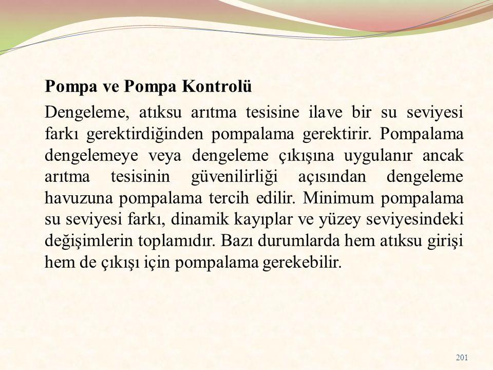 Pompa ve Pompa Kontrolü Dengeleme, atıksu arıtma tesisine ilave bir su seviyesi farkı gerektirdiğinden pompalama gerektirir. Pompalama dengelemeye vey