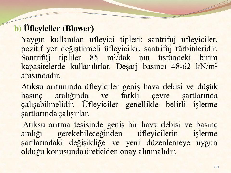 b) Üfleyiciler (Blower) Yaygın kullanılan üfleyici tipleri: santrifüj üfleyiciler, pozitif yer değiştirmeli üfleyiciler, santrifüj türbinleridir. Sant