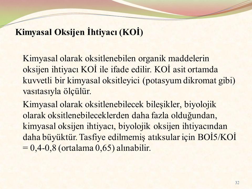 Kimyasal Oksijen İhtiyacı (KOİ) Kimyasal olarak oksitlenebilen organik maddelerin oksijen ihtiyacı KOİ ile ifade edilir. KOİ asit ortamda kuvvetli bir