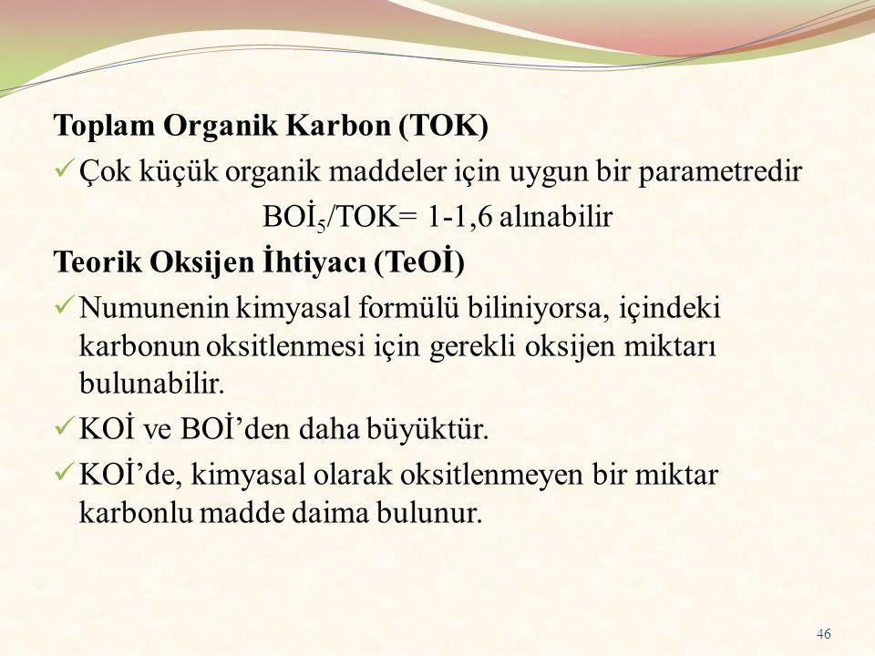 Toplam Organik Karbon (TOK) Çok küçük organik maddeler için uygun bir parametredir BOİ 5 /TOK= 1-1,6 alınabilir Teorik Oksijen İhtiyacı (TeOİ) Numunen