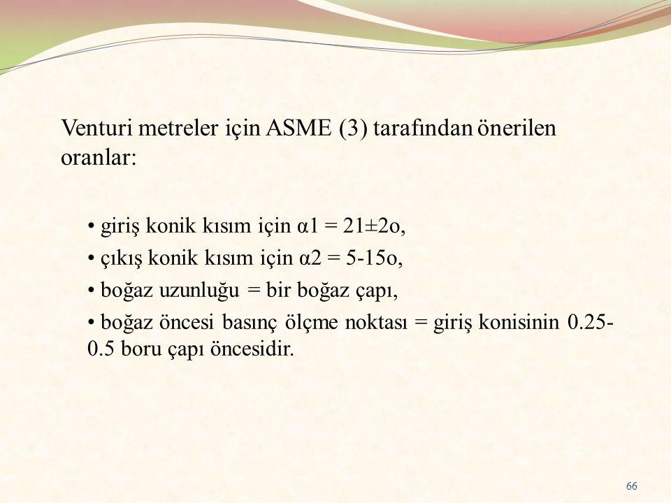 Venturi metreler için ASME (3) tarafından önerilen oranlar: giriş konik kısım için α1 = 21±2o, çıkış konik kısım için α2 = 5-15o, boğaz uzunluğu = bir