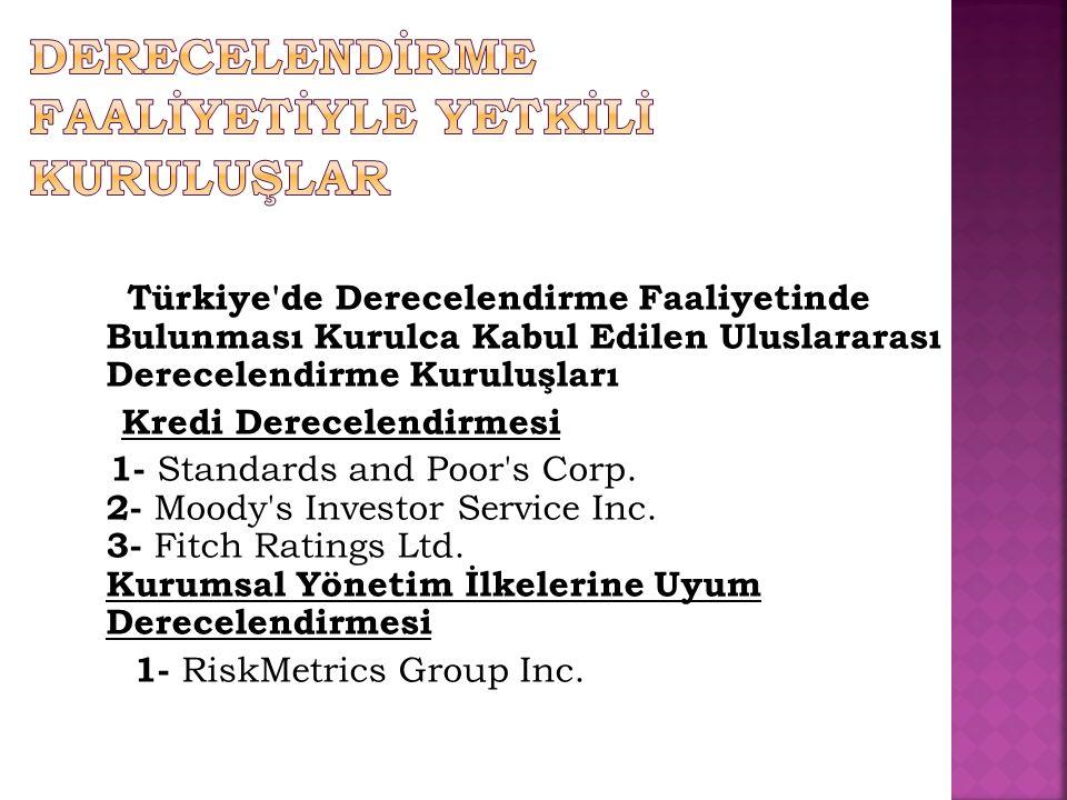 Türkiye de Derecelendirme Faaliyetinde Bulunması Kurulca Kabul Edilen Uluslararası Derecelendirme Kuruluşları Kredi Derecelendirmesi 1- Standards and Poor s Corp.