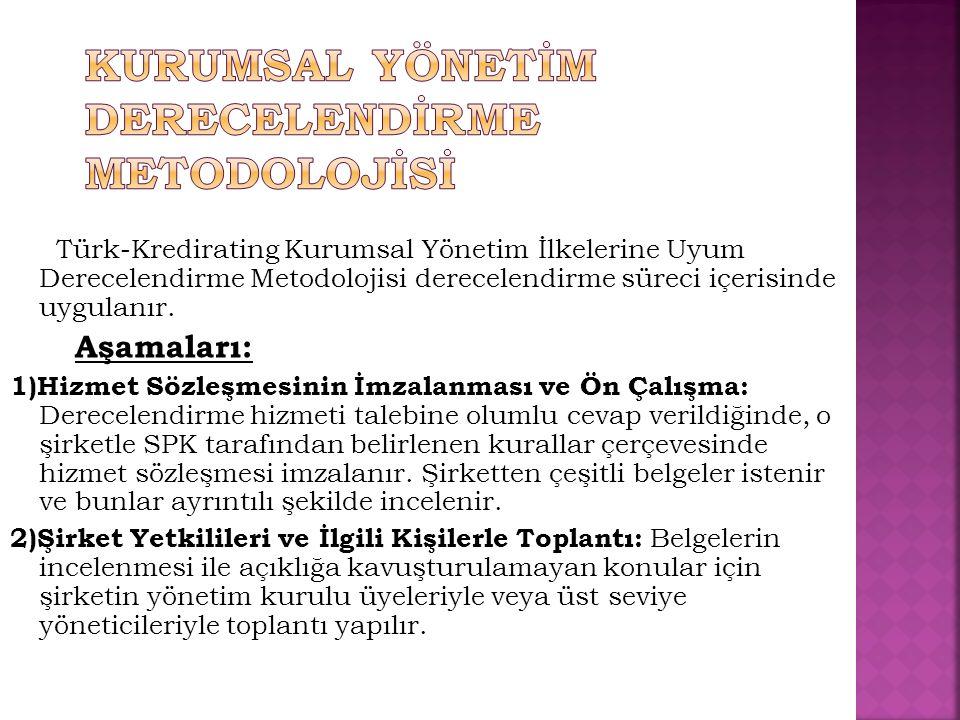 Türk-Kredirating Kurumsal Yönetim İlkelerine Uyum Derecelendirme Metodolojisi derecelendirme süreci içerisinde uygulanır. Aşamaları: 1)Hizmet Sözleşme