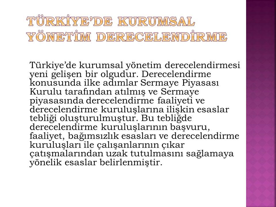 Türkiye'de kurumsal yönetim derecelendirmesi yeni gelişen bir olgudur. Derecelendirme konusunda ilke adımlar Sermaye Piyasası Kurulu tarafından atılmı