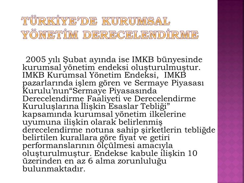 2005 yılı Şubat ayında ise IMKB bünyesinde kurumsal yönetim endeksi oluşturulmuştur. IMKB Kurumsal Yönetim Endeksi, IMKB pazarlarında işlem gören ve S