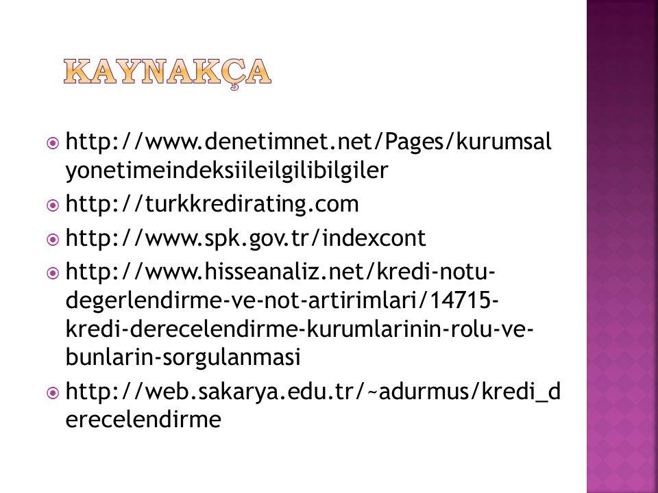  http://www.denetimnet.net/Pages/kurumsal yonetimeindeksiileilgilibilgiler  http://turkkredirating.com  http://www.spk.gov.tr/indexcont  http://www.hisseanaliz.net/kredi-notu- degerlendirme-ve-not-artirimlari/14715- kredi-derecelendirme-kurumlarinin-rolu-ve- bunlarin-sorgulanmasi  http://web.sakarya.edu.tr/~adurmus/kredi_d erecelendirme