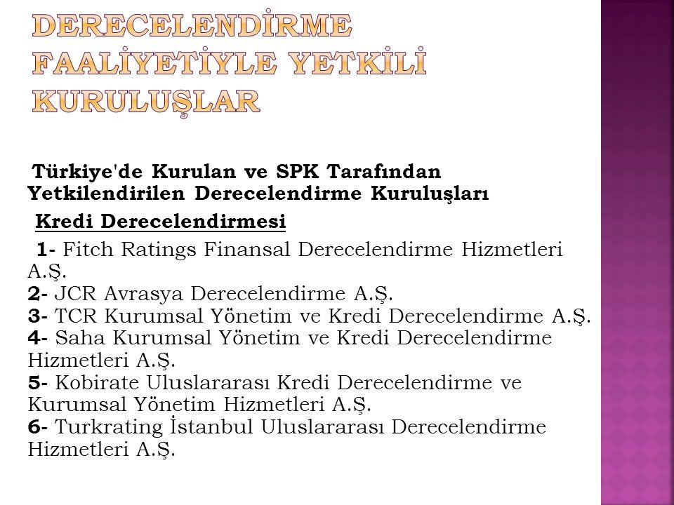 Türkiye'de Kurulan ve SPK Tarafından Yetkilendirilen Derecelendirme Kuruluşları Kredi Derecelendirmesi 1- Fitch Ratings Finansal Derecelendirme Hizmet