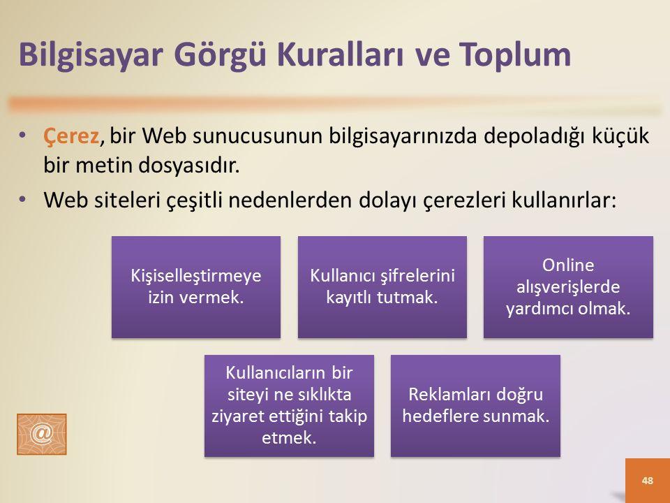 Bilgisayar Görgü Kuralları ve Toplum Çerez, bir Web sunucusunun bilgisayarınızda depoladığı küçük bir metin dosyasıdır.