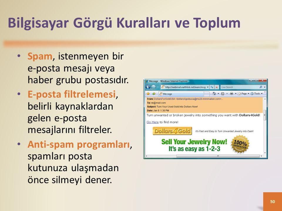 Bilgisayar Görgü Kuralları ve Toplum Spam, istenmeyen bir e-posta mesajı veya haber grubu postasıdır.