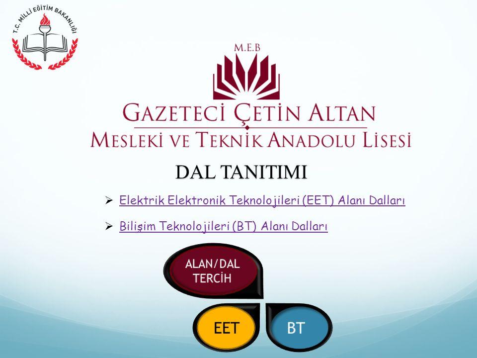 DAL TANITIMI  Bilişim Teknolojileri (BT) Alanı Dalları Bilişim Teknolojileri (BT) Alanı Dalları  Elektrik Elektronik Teknolojileri (EET) Alanı Dalları Elektrik Elektronik Teknolojileri (EET) Alanı Dalları EET