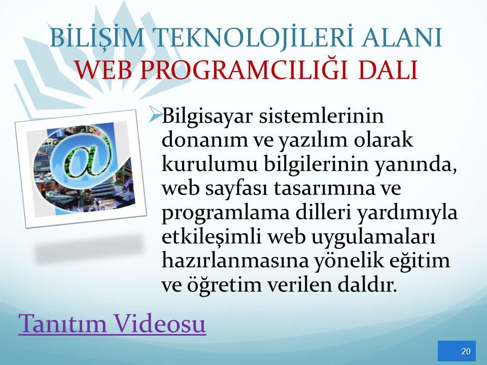BİLİŞİM TEKNOLOJİLERİ ALANI WEB PROGRAMCILIĞI DALI  Bilgisayar sistemlerinin donanım ve yazılım olarak kurulumu bilgilerinin yanında, web sayfası tasarımına ve programlama dilleri yardımıyla etkileşimli web uygulamaları hazırlanmasına yönelik eğitim ve öğretim verilen daldır.