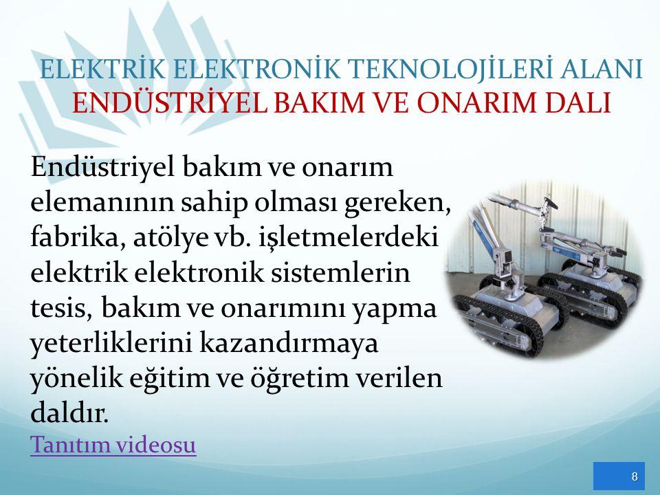 8 Endüstriyel bakım ve onarım elemanının sahip olması gereken, fabrika, atölye vb. işletmelerdeki elektrik elektronik sistemlerin tesis, bakım ve onar