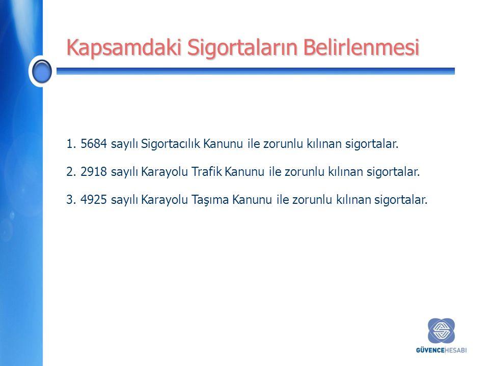 1.5684 sayılı Sigortacılık Kanunu ile zorunlu kılınan sigortalar.