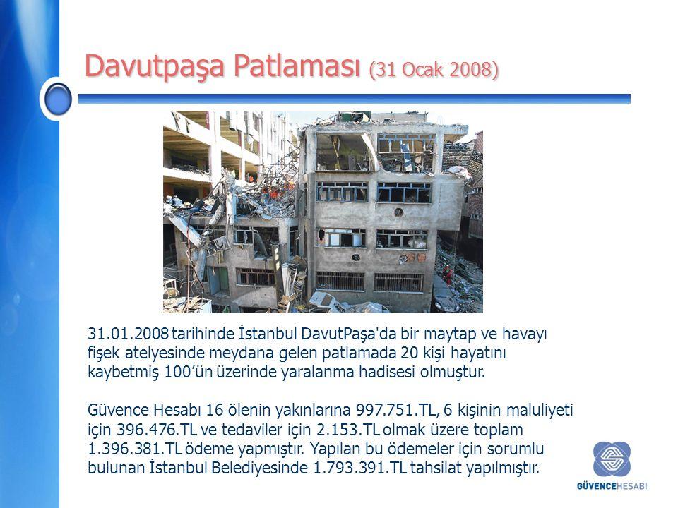Davutpaşa Patlaması (31 Ocak 2008) 31.01.2008 tarihinde İstanbul DavutPaşa da bir maytap ve havayı fişek atelyesinde meydana gelen patlamada 20 kişi hayatını kaybetmiş 100'ün üzerinde yaralanma hadisesi olmuştur.