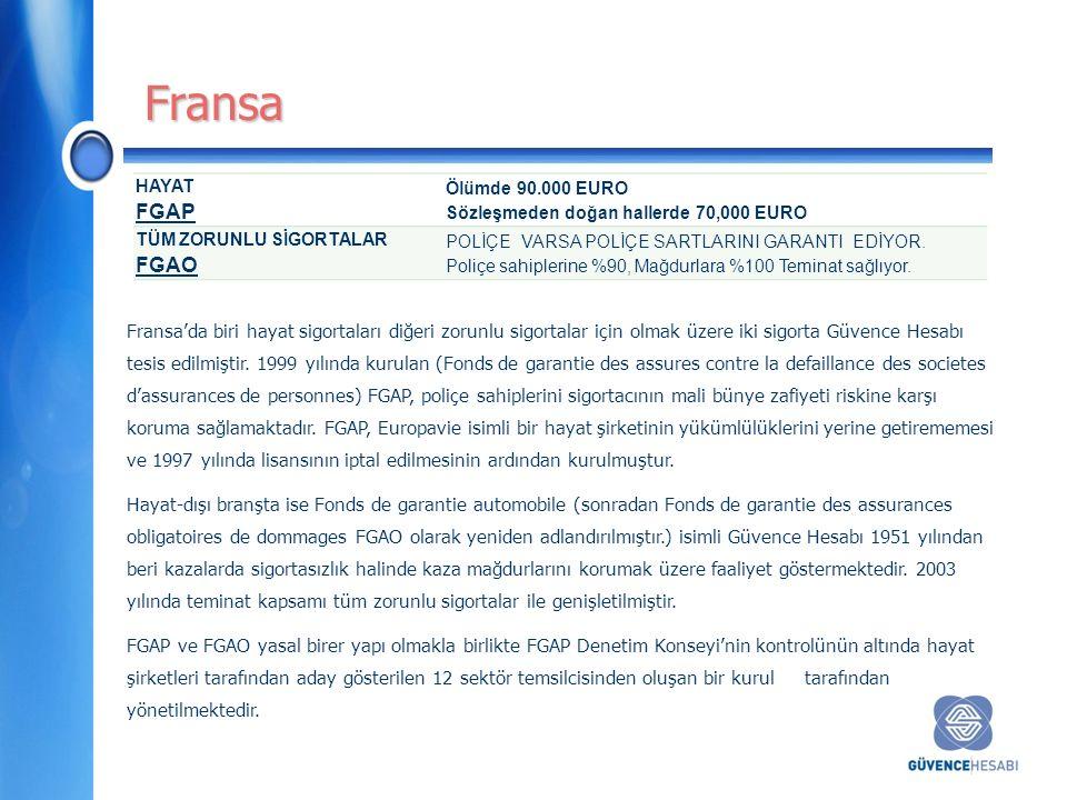 Fransa'da biri hayat sigortaları diğeri zorunlu sigortalar için olmak üzere iki sigorta Güvence Hesabı tesis edilmiştir.