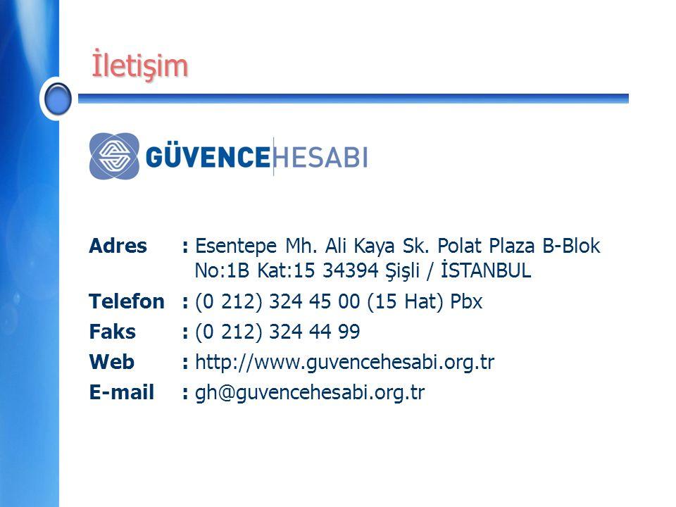 Adres: Esentepe Mh. Ali Kaya Sk. Polat Plaza B-Blok No:1B Kat:15 34394 Şişli / İSTANBUL Telefon : (0 212) 324 45 00 (15 Hat) Pbx Faks: (0 212) 324 44