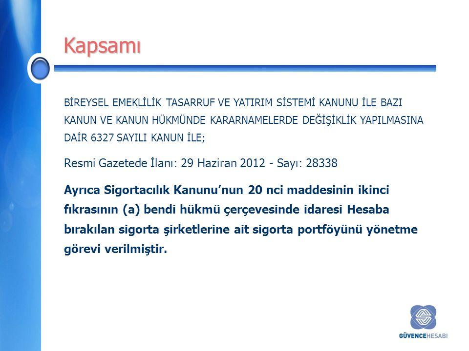 BİREYSEL EMEKLİLİK TASARRUF VE YATIRIM SİSTEMİ KANUNU İLE BAZI KANUN VE KANUN HÜKMÜNDE KARARNAMELERDE DEĞİŞİKLİK YAPILMASINA DAİR 6327 SAYILI KANUN İLE; Resmi Gazetede İlanı: 29 Haziran 2012 - Sayı: 28338 Ayrıca Sigortacılık Kanunu'nun 20 nci maddesinin ikinci fıkrasının (a) bendi hükmü çerçevesinde idaresi Hesaba bırakılan sigorta şirketlerine ait sigorta portföyünü yönetme görevi verilmiştir.