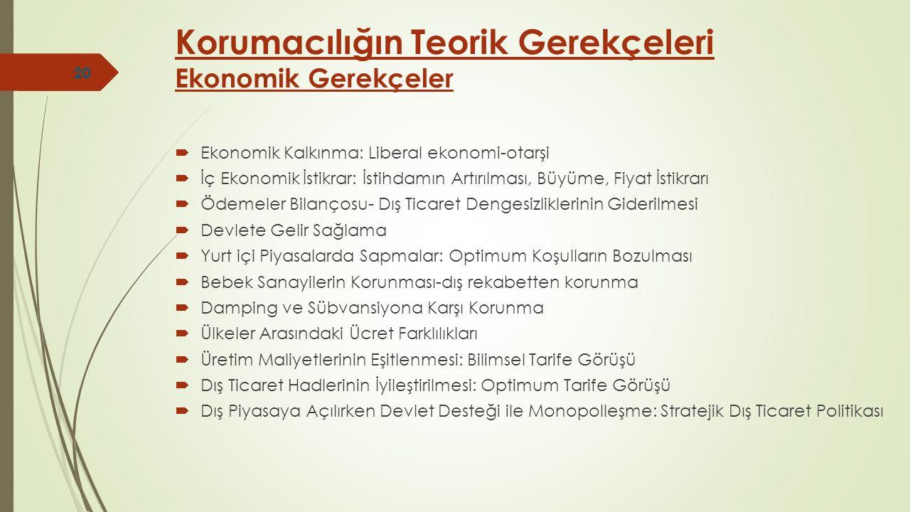  Ekonomik Kalkınma: Liberal ekonomi-otarşi  İç Ekonomik İstikrar: İstihdamın Artırılması, Büyüme, Fiyat İstikrarı  Ödemeler Bilançosu- Dış Ticaret