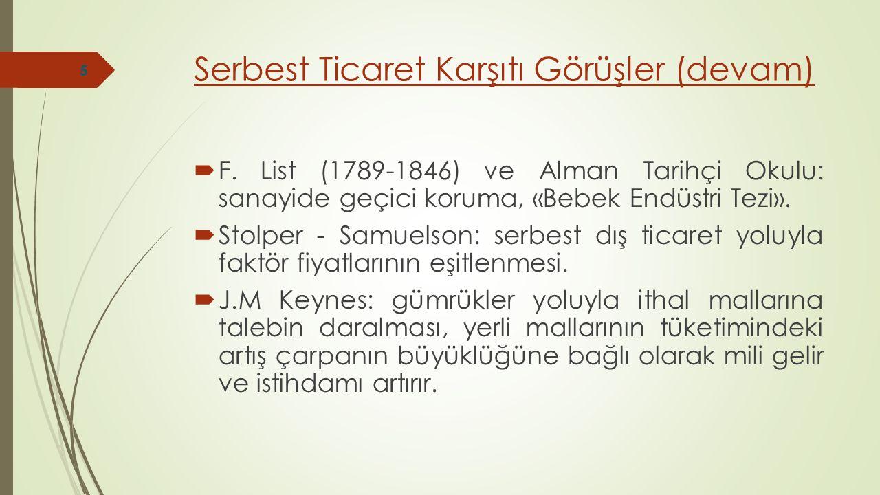 Serbest Ticaret Karşıtı Görüşler (devam)  F. List (1789-1846) ve Alman Tarihçi Okulu: sanayide geçici koruma, «Bebek Endüstri Tezi».  Stolper - Samu