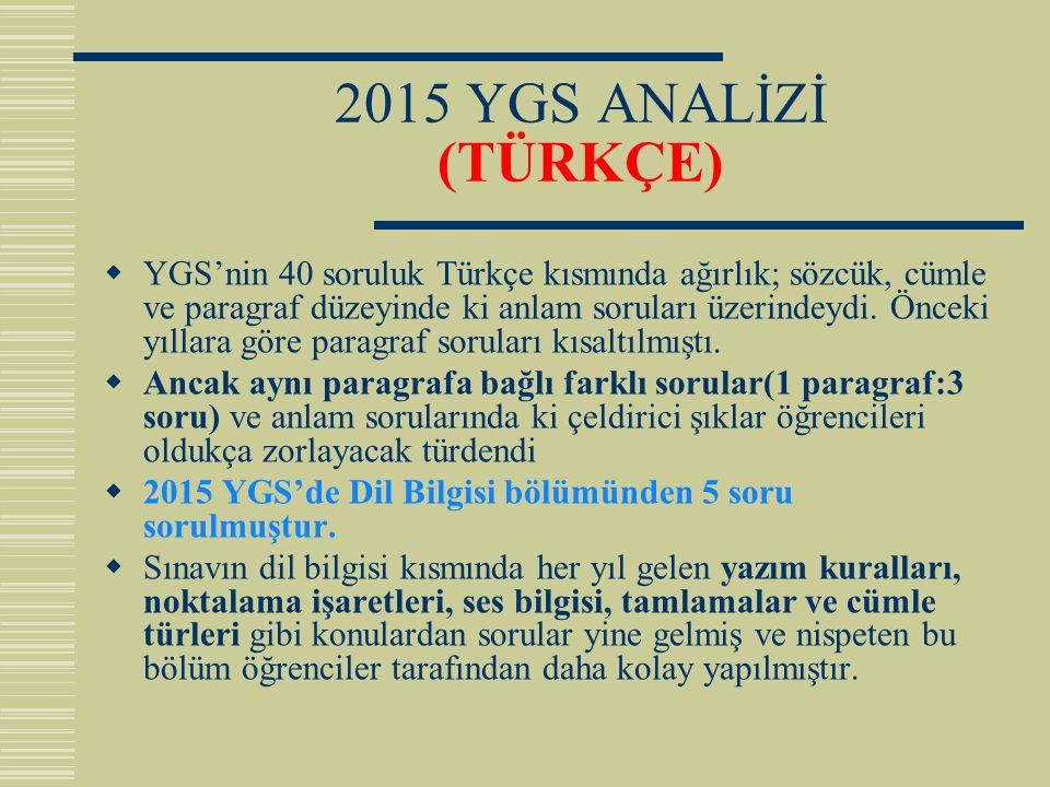 2015 YGS ANALİZİ (TÜRKÇE)  YGS'nin 40 soruluk Türkçe kısmında ağırlık; sözcük, cümle ve paragraf düzeyinde ki anlam soruları üzerindeydi. Önceki yıll