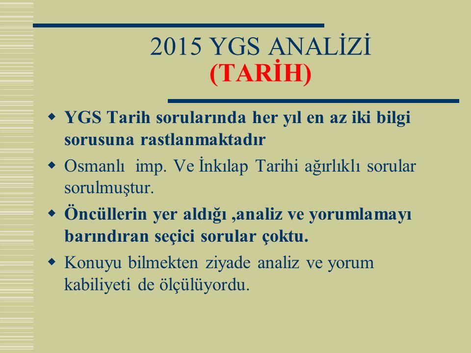 2015 YGS ANALİZİ (TARİH)  YGS Tarih sorularında her yıl en az iki bilgi sorusuna rastlanmaktadır  Osmanlı imp. Ve İnkılap Tarihi ağırlıklı sorular s