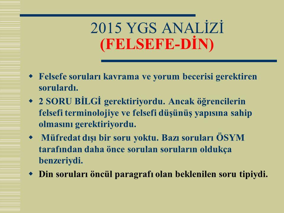 2015 YGS ANALİZİ (FELSEFE-DİN)  Felsefe soruları kavrama ve yorum becerisi gerektiren sorulardı.